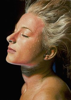 """""""Drifting"""" - Dirk Dzimirsky, oil on canvas, 2011 {figurative realism art blonde female head #hyperreal woman face portrait painting #loveart} dzimirsky.com"""