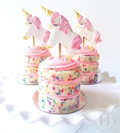 unicorn individual confetti cakes with cookie unicorn toppers