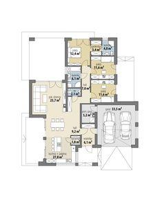 Szafir New House Plans, Dream House Plans, Building Plans, Bungalow, New Homes, Floor Plans, Construction, House Design, Flooring