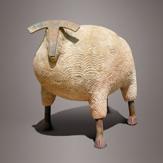 'Mouton' by French ceramic sculptor Christian Pradier (b 1949). 38 x 36 cm. via the artist's site