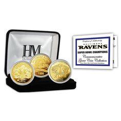 Baltimore Ravens 2-time Super Bowl Champions Gold Game Coin Set