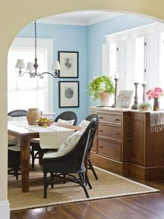 "After: Dashing Dining Room bhg.com; love this soft blue - go see the before photo in article ""A Vintage-Inspired Makeover"""