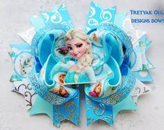 Arco de pelo arco grande congelado Elsa pelo por MyLuckyHairBow                                                                                                                                                                                 Más
