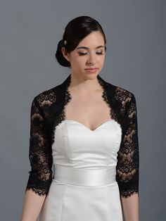 Black 3/4 sleeve bridal lace wedding bolero jacket 051n