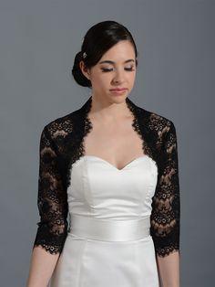 bd0fdbfccf Black 3 4 sleeve bridal lace wedding bolero jacket 051n