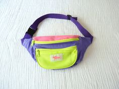 90s neon fanny pack. Hot pink, fluorescent green and bright purple. RAD via Etsy