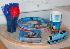 A Thomas the Train Birthday Party - Got everything but the spoons and forks but excellent idea. I should do those in color as well!!