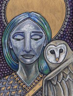 Minerva Athena Diana Greek Roman Goddess Owl by LynnetteShelley