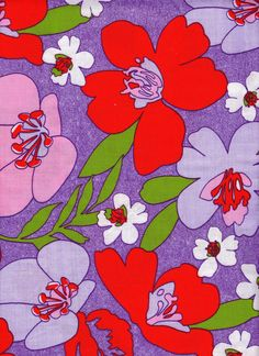 60's Mod Flower Power Vintage Purple Cotton Fabric with Pink, Red, Light Purple and White Flowers .... Almost One Yard on Etsy, £5.46