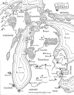 Inspired by the maps in fantasy novels like J. Tolkiens The Lord of the Rings, this map shows the State of Michigan as a fantasy land of castles Book Writing Tips, Writing Prompts, Steampunk Bedroom, Map Of Michigan, Map Outline, Fantasy Map, Old Maps, Gifts For My Boyfriend, Places