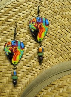 Music To Your Ears..... guitar pick earrings.... colorful ovation guitar and flowers