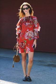 The Most Authentically Inspiring Street Style From New York #refinery29  http://www.refinery29.com/2015/09/93788/ny-fashion-week-spring-2016-street-style-pictures#slide-70  Gucci loafers offset a ladylike floral dress....