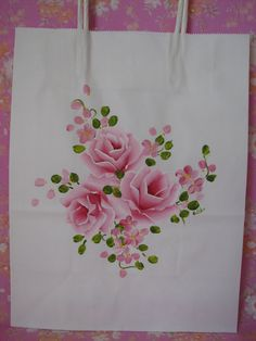 Paper Gift Bag White Hand Painted Chic Pink Roses by pinkrose1611, $4.50