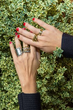 """Inside the closet of W Magazine Accessories and Jewelry director Claudia Mata: """"I never take off this Monique Pean ring. It's my everyday. And now my new everyday is this Spinelli Kilcollin.""""-- Gold and silver rings. 
