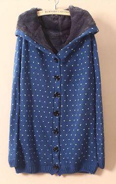 Blue Hooded Long Sleeve Polka Dot Cardigan Sweater