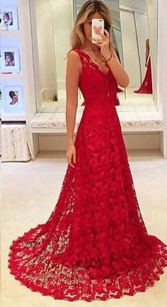 2016 Pretty Long Lace Prom Dresses,Modest Prom Dress,Deep V-neck Evening Dresses,Sexy Party Prom Dresses,A-line Prom Dresses http://21weddingdresses.storenvy.com/products/16755567-real-sexy-long-red-lace-prom-dresses-deep-v-neck-modest-evening-dresses