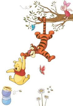 Bring the magic home with these Winnie the Pooh wall decals. Decorate your child's nursery or bedroom with Winnie the Pooh, Tigger and Piglet swinging for honey. These removable decals are easy to install: simply remove from the backing and assemble Winnie The Pooh Nursery, Winne The Pooh, Winnie The Pooh Quotes, Disney Winnie The Pooh, Walt Disney Kids, Baby Disney, Wallpaper Iphone Disney, Cute Disney Wallpaper, Baby Wallpaper