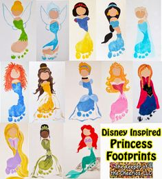 Disney Princess Footprints We just love footprint crafts and my kids are so in love with everything Disney as most kids are, so we decided to come up with several Disney inspired footprints for fun. Baby Crafts, Toddler Crafts, Crafts To Do, Preschool Crafts, Toddler Activities, Party Activities, Kids Crafts, Disney Crafts For Kids, Toddler Art