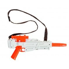 Finn Star Wars: The Force Awakens Blaster with Strap Price: $22.00  White and orange plastic toy blaster from Star Wars: The Force Awakens like the one Finn carried. Perfect for play or cosplay. This is a non-functional prop and does not light or make sounds. The orange color complies with law enforcement regulations for toy guns however it can be painted as you would like for a more authentic look. It measures about 15 inches long and 5 inches deep.  Officially Licensed Star Wars Costume…