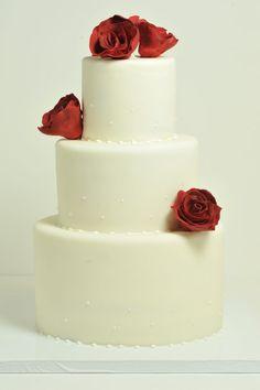 Simple elegant fresh red roses fondant ivory Custom Cakes Gallery - Wedding Cakes - TipsyCake Chicago