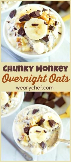 Best Overnight Oat Recipes This overnight oats recipe with dark chocolate and banana makes for a deliciously satisfying and easy breakfast!This overnight oats recipe with dark chocolate and banana makes for a deliciously satisfying and easy breakfast! Weight Watcher Desserts, Comida Kosher, Easy Overnight Oats, Overnight Breakfast, Best Overnight Oats Recipe, Protein Overnight Oats, Dairy Free Overnight Oats, Overnight Oats With Yogurt, Blueberry Overnight Oats