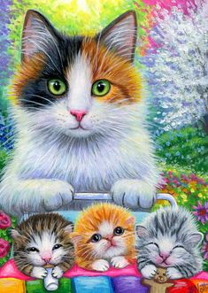 ACEO original calico cat kittens Mother's Day garden painting art #Miniature