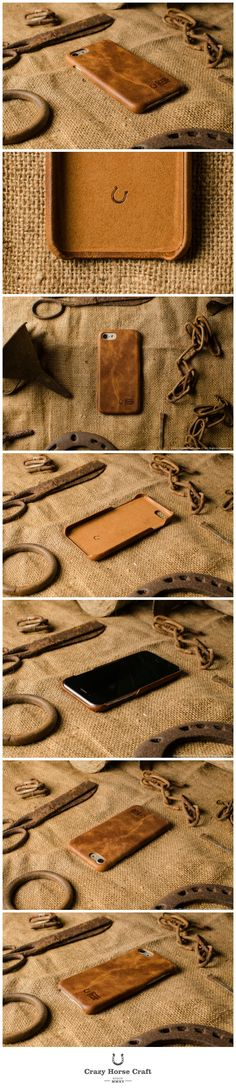 iPhone 7 Leather Cover, Hard Case, vintage orange