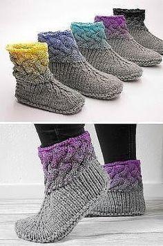 Интересная идея для декора. Knitting Stitches, Knitting Socks, Knitting Needles, Knitting Patterns Free, Knit Patterns, Free Knitting, Loom Knitting, Stitch Patterns, Knit Slippers Free Pattern