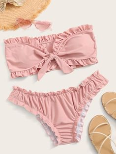 To find out about the Frill Trim Knot Front Bandeau Bikini Set at SHEIN, part of our latest Bikinis ready to shop online today! Rosa Bikini, Bikini Sets, Bandeau Bikini Set, Pink Bikini, Bikini Swimwear, Cute Swimsuits, Women Swimsuits, Bikini Outfits, Cute Bathing Suits