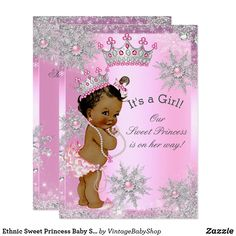 Ethnic Sweet Princess Baby Shower Wonderland Pink Card Sweet Princess Girl Baby Shower Winter Wonderland, Pink Silver Snowflakes. Pearls snowflake, and Silver Tiara for a baby girl. Gray silver sparkles. Pretty and adorable new baby girl, vintage, couples baby shower. Cute Sprinkle Baby Shower. Ethnic African American Baby Shower. Please note: not real lace or jewels/gems.