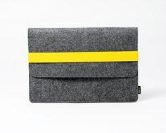 "Macbook Pro Macbook Air 13"" Macbook Sleeve Macbook Case Macbook Bag Macbook Holder Handmade Customized w Yellow Elastic Strip :E1148-MGra03y"