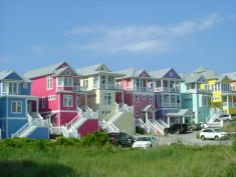 Multicolored beach houses