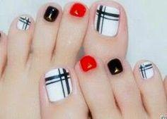 New Pedicure Nail Art Designs Toenails Black White Ideas Pedicure Designs, Pedicure Nail Art, Toe Nail Designs, Toe Nail Art, Pedicure Colors, Nails Design, Red Pedicure, Pedicure Ideas, Acrylic Nails