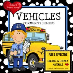 Vehicles community helpers early reader literacy circle by monae's speech house Speech Language Therapy, Speech And Language, Speech Therapy, Speech House, Literacy Circles, Autism Classroom, Early Readers, Community Helpers, Sensory Bins