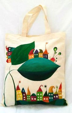 Hand painted bag Fairy house Cotton tote bag Quirky by ByHandHeart