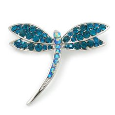 Classic Teal Green Swarovski Crystal Dragonfly Brooch In Rhodium Plating - 6.5cm Length - CJ110TTCOI5 - Brooches & Pins  #jewellrix #Brooches #Pins #jewelry #fashionstyle