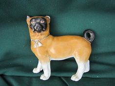 Antique English Bisque Hand Painted French Bull Dog W/Collar and Curled Tail Dog Sculpture, Bull Dog, French Bulldog, Porcelain, English, Hand Painted, Electronics, Antiques, Dogs