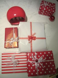Christmas - Decoration wrapping Xmas red and white ball ornaments Ball Ornaments, Red And White, Wraps, Christmas Decorations, Gift Wrapping, Create, Gifts, Gift Wrapping Paper, Presents