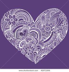 Stock Vector Illustration:  Hand-Drawn Intricate Henna Tattoo Paisley Heart Doodle Vector Illustration
