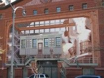 """Mural by Richard Haas done in """"Trompe L'oeil"""" style"""