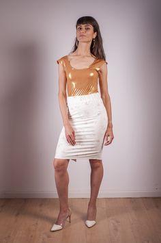 golden lycra body - eur size 36-38 creamy flowers lycra skirt - eur size 34-36 FB and insta : #arcstudio #arcstudiobyclaudianemes Out Of The Closet, Studio, Flowers, Skirts, Fashion, Moda, Fashion Styles, Studios, Skirt