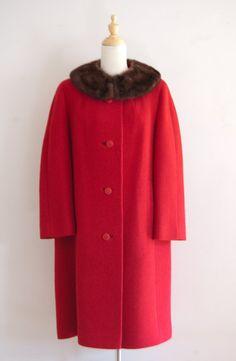 1960s Rothmoor red mink collar coat / vintage by inheritedattire, $72.00