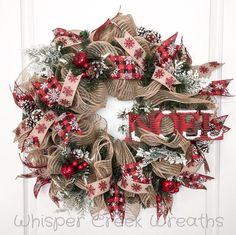 Noel Burlap Deco Mesh Wreath, Christmas Wreath for Front Door, Christmas Decoration, Evergreen Wreath. Snowflake, Christmas Deco Mesh Wreath