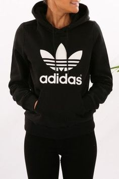 adidas - Trefoil Logo Hoodie Black $80  Shop // http://www.jeanjail.com.au/ladies/adidas-trefoil-logo-hoodie-black.html
