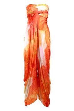 Turquoise & Gold Flowered Tangerine Draped Jumpsuit | Findable.in