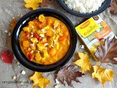 Curry z kurczakiem, dynią i papryką - Oryginalny smak Chili, Curry, Food And Drink, Soup, Chicken, Ethnic Recipes, Curries, Chile, Soups