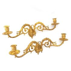 Piano Sconses, Pair Antique Gilded Brass French Candle holders, Victorian Candle wall sconce.