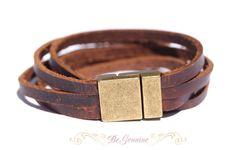 "Leather bracelet - Rustic-Brown- wrap around bracelet- Raw Leather"" multi strand"