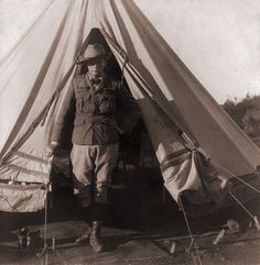 Churchill standing at the opening of his tent as a war correspondent during the Second Boer War, in Bloemfontein, South Africa, Image: Universal History/Getty Images Winston Churchill, Safari, The Rest Of Us, Submarines, Historical Pictures, Great Britain, South Africa, Famous People, Tent