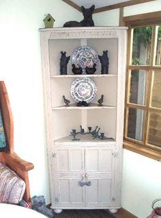 Taupe corner cupboard
